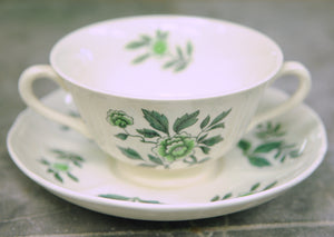 Wedgwood Green Leaf Footed Cream Soup Bowl and Saucer - Chestnut Lane Antiques & Interiors - 5