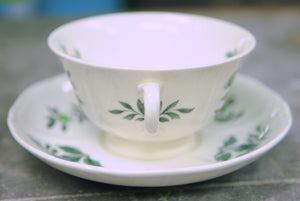 Wedgwood Green Leaf Footed Cream Soup Bowl and Saucer - Chestnut Lane Antiques & Interiors - 6