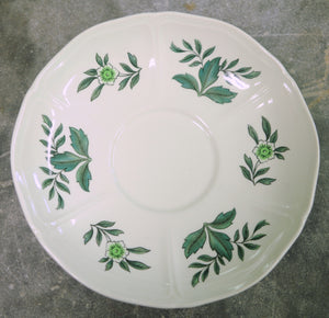 Wedgwood Green Leaf Footed Cream Soup Bowl and Saucer - Chestnut Lane Antiques & Interiors - 7