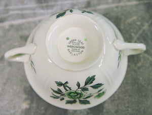 Wedgwood Green Leaf Footed Cream Soup Bowl and Saucer - Chestnut Lane Antiques & Interiors - 9
