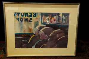"Original Signed Framed Painting by Jane Carter - ""Beauty Shop"""