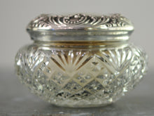 Load image into Gallery viewer, Antique American Sterling Silver And Cut Glass Vanity Jar With Bone and Down Powder Puff - Chestnut Lane Antiques & Interiors - 3