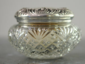 Antique American Sterling Silver And Cut Glass Vanity Jar With Bone and Down Powder Puff - Chestnut Lane Antiques & Interiors - 3