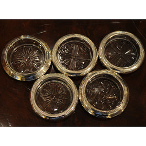 Set of 5 Sterling Silver and Cut Glass Coasters - Chestnut Lane Antiques & Interiors - 2