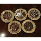 Set of 5 Sterling Silver and Cut Glass Coasters - Chestnut Lane Antiques & Interiors - 3