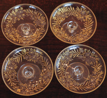 Load image into Gallery viewer, Etched Glass and Enamel Footed Butter Pats Set of 4 - Chestnut Lane Antiques & Interiors - 4