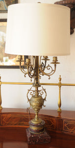 Antique French Bronze Candelabra Lamps On Marble Base Lamp - Chestnut Lane Antiques & Interiors - 3