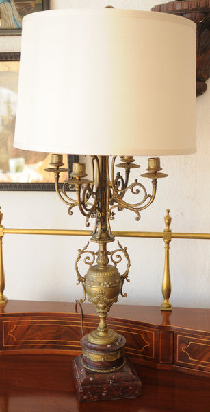 Antique French Bronze Candelabra Lamps On Marble Base Lamp