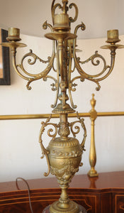Antique French Bronze Candelabra Lamps On Marble Base Lamp - Chestnut Lane Antiques & Interiors - 4