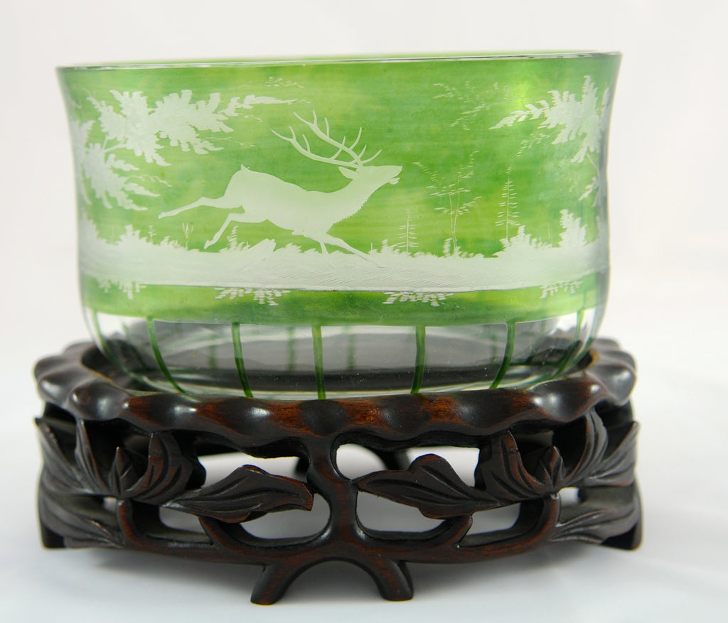 Oval Green Bohemian Stag Bowl - Chestnut Lane Antiques & Interiors  - 1