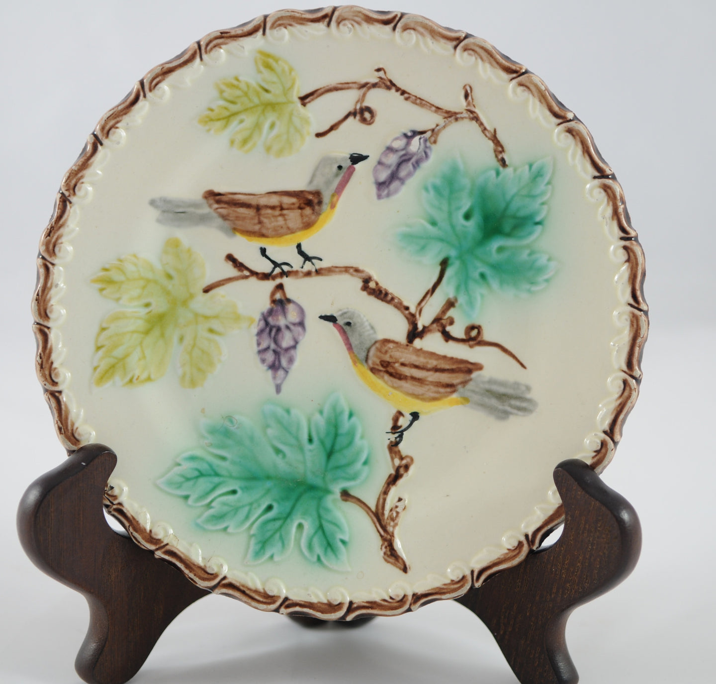 Antique German Majolica Plate Zell Birds and Grapes - Chestnut Lane Antiques & Interiors  - 1