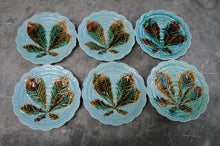 Load image into Gallery viewer, Set of Six Rorstrand Majolica Horse Chestnut Leaf Plate