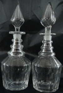 Pair of Georgian Style 19th Century Three Ring Glass Decanters with Spire Stopper - Chestnut Lane Antiques & Interiors - 2