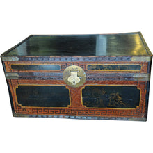 Load image into Gallery viewer, Chinese Rattan Trunk with Mahogany Interior and Chinoiserie Top - Chestnut Lane Antiques & Interiors - 1