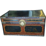 Chinese Rattan Trunk with Mahogany Interior and Chinoiserie Top - Chestnut Lane Antiques & Interiors - 1