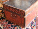 Chinese Rattan Trunk with Mahogany Interior and Chinoiserie Top - Chestnut Lane Antiques & Interiors - 2