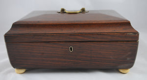 Antique Regency Style Sewing Box with Ivory Bun Feet - Chestnut Lane Antiques & Interiors - 6