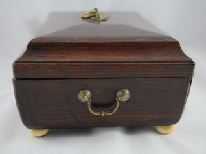 Antique Regency Style Sewing Box with Ivory Bun Feet - Chestnut Lane Antiques & Interiors - 3