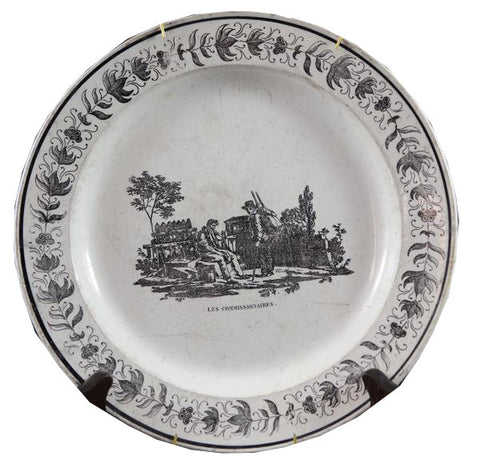 "Antique Black & White Plate ""Les Commissionaires"""