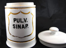 "Load image into Gallery viewer, Early French Apothecary Jar ""Pulv Sinap"" - Chestnut Lane Antiques & Interiors - 3"