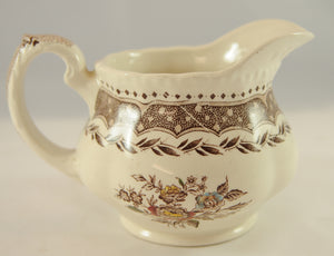 Antique Brown Transferware Pitcher Jug Circa 1890 - Chestnut Lane Antiques & Interiors - 2