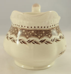 Antique Brown Transferware Pitcher Jug Circa 1890 - Chestnut Lane Antiques & Interiors - 4