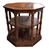 Three Tier Octagonal Leather Top Side Table - Chestnut Lane Antiques & Interiors - 1