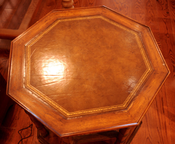 Three Tier Octagonal Leather Top Side Table Chestnut