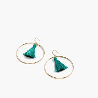 Fringy Hoop Earrings - Jade