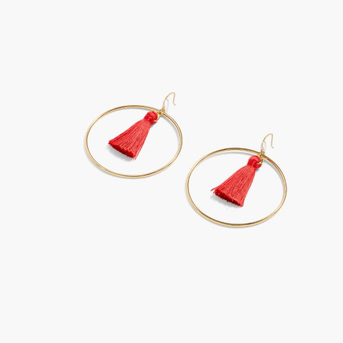 Fringy Hoop Earrings - Red