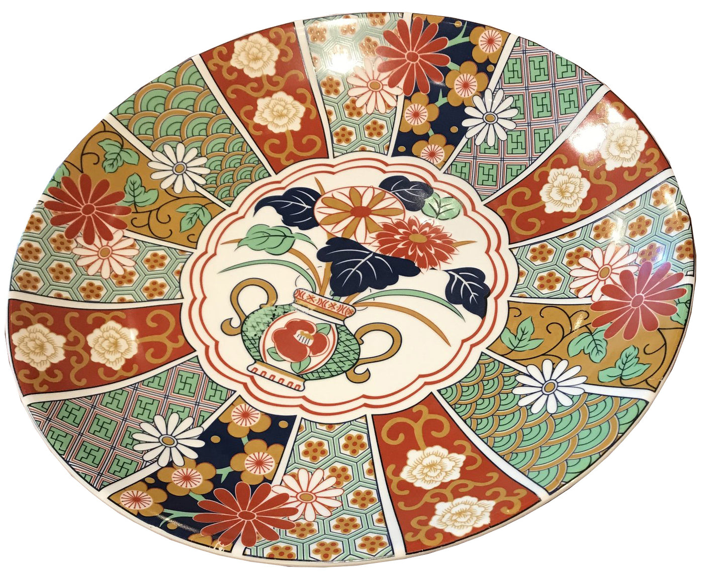 Asian Multi Colored Round Platter