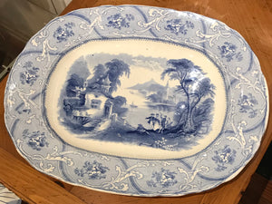 Antique Blue and White Transferware Platter