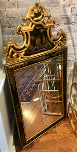 Black and Gold Lacquer Chinoiserie Mirror