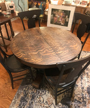 Load image into Gallery viewer, Round Tiger Oak Dining Table and Chairs