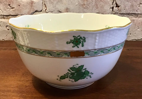 Herend Chinese Bouquet Green Serving Bowl