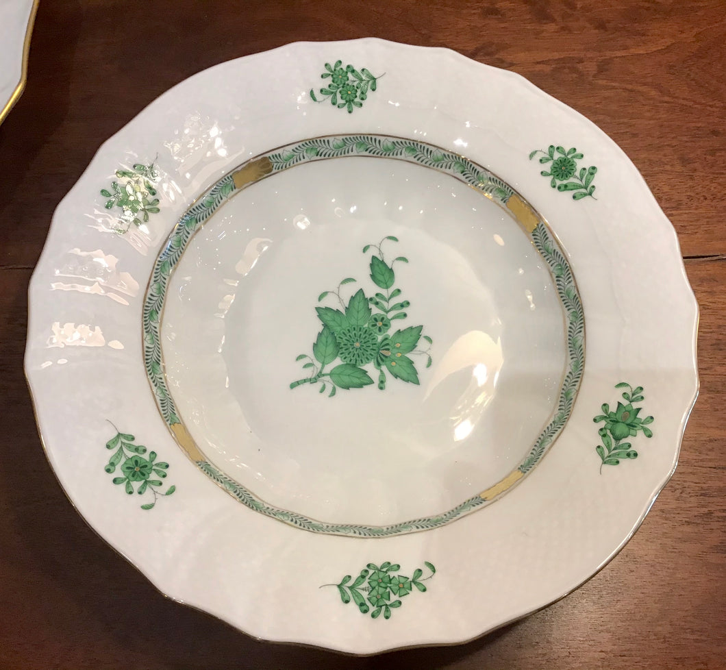 Herend Chinese Bouquet Green Rimmed Soup Bowls