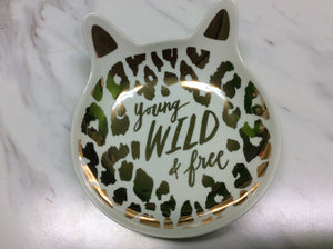 "Paper Source Cat Trinket Dish - ""Young, Wild & Free"""