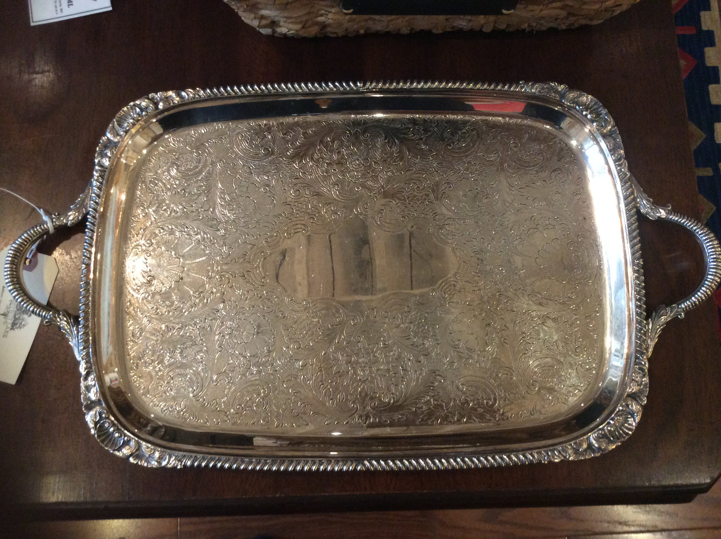Vintage Hand Chased Silver Tray