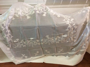 "Linen and Organza Tablecloth 68"" x 90"""