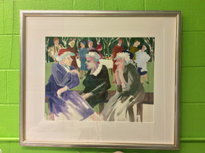 "Framed Watercolor by Jane Carter - ""Promise You Won't Tell"""
