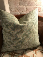 Load image into Gallery viewer, Reversible Peacock Pillow with Blue Greek Key
