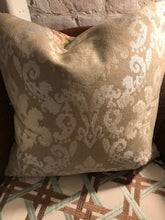 Load image into Gallery viewer, Reversible Peacock Print and Tan Damask Pillow