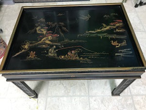 Vintage Gold & Black Lacquer Chinoiserie Drexel Heritage Accent Table