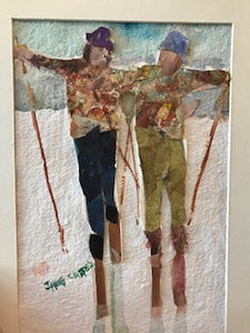 "Jane Carter Mixed Media ""The Skiers"" #3"