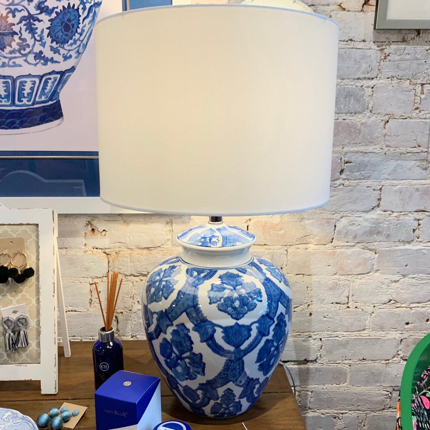 Blue and White Lamp with Shade