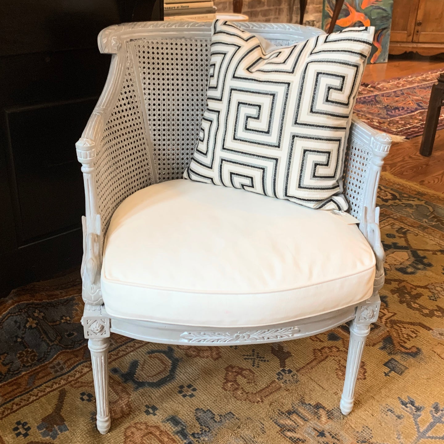 Painted Barrel-Back Cane Chair with Cushion
