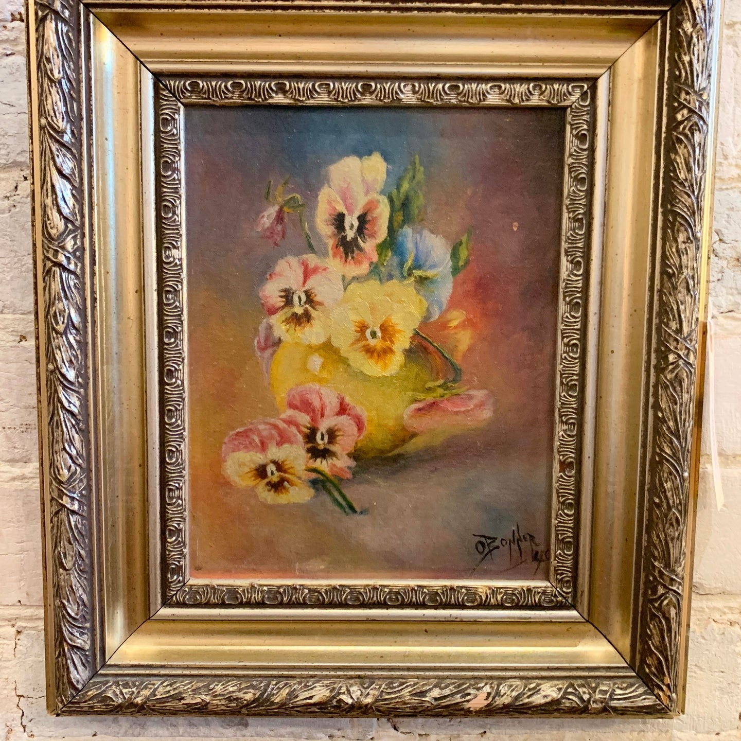 Antique Oil on Canvas Pansies by O. Bonner