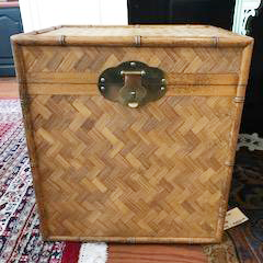 Vintage Bamboo Woven Rattan Trunk with Brass Hardware