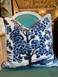 Custom Made Thibaut Blue and White Chinoiserie Pillow