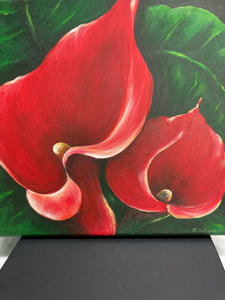 "Acrylic on Canvas by Clara Gutierrez - ""Red Lilies"""